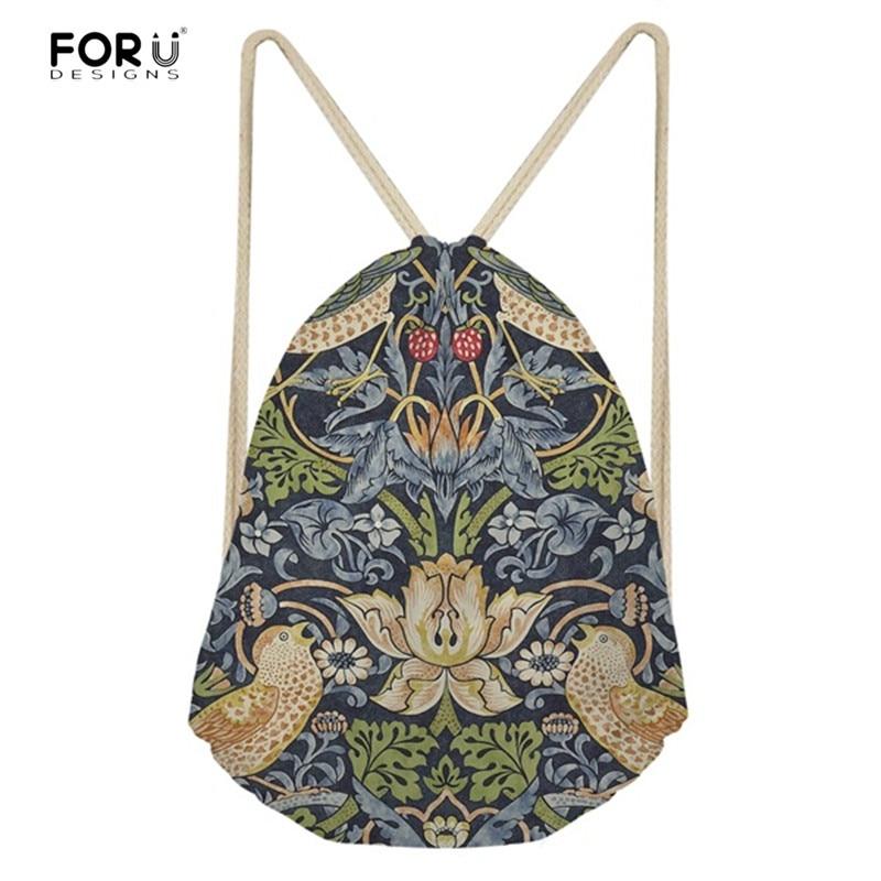 FORUDESIGNS Fashion Women Drawstring Bags William Morris Print Mini String Rucksacks For Female Reusable Storage Backpacks Bolsa