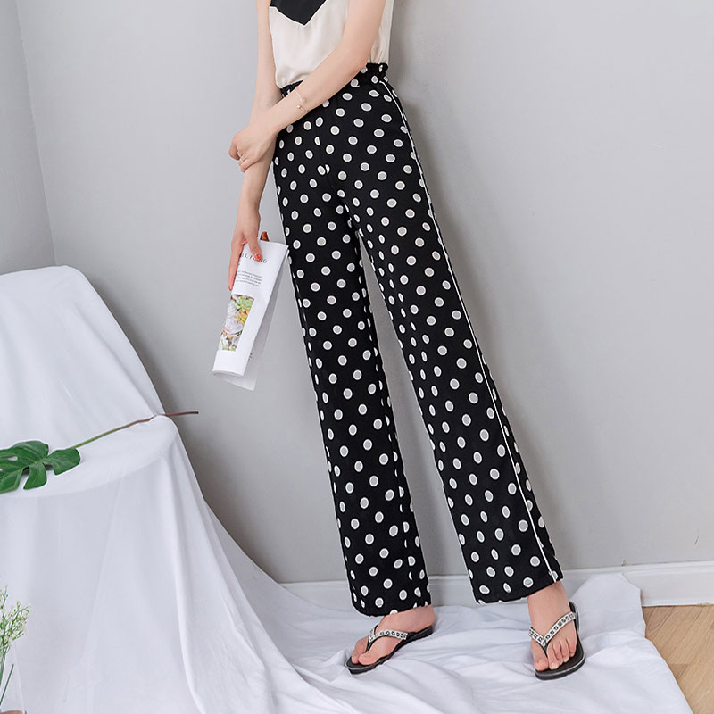Dot Chiffon   Pants   Women 2019 Summer Black Striped Thin   Wide     Leg     Pants   Woman Streetwear Harajuku Plus Size Korean Trousers Women