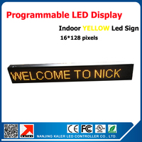 Free shipping 16*128 dots indoor led sign programmable message scrolling board waterproof yellow led screen for advertising