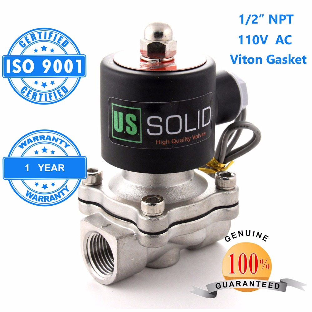 U.S. Solid 1/2 Stainless Steel Electric Solenoid Valve 110V AC NPT Thread Normally Closed water, air, diesel... ISO Certified u s solid 3 4 stainless steel electric solenoid valve 110 v ac g normally closed diesel kerosine alcohol air gas oil water