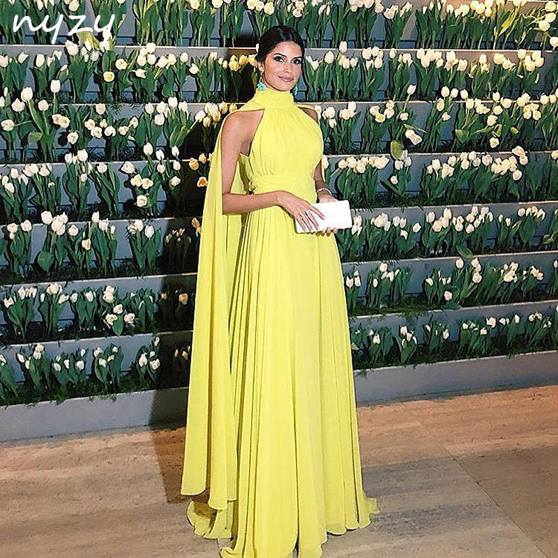 NYZY E2 Formal Dress Women Elegant Chiffon Ruched High Neck Cape Long Sleeves Yellow Evening Dress 2019 Vestido Longo Festa