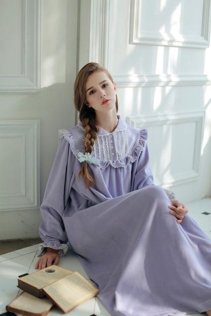 Women Sleepwear Winter Warm Gown Royal Princess Dress Nightgown Women's Velvet Long Nightdress Vintage Court Style Homeware