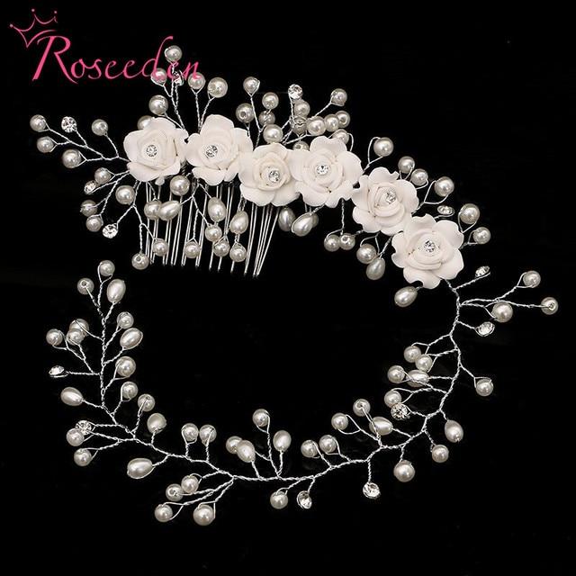 handmade hair combs Bridal floral headband women pearl jewelry hairband bridal t