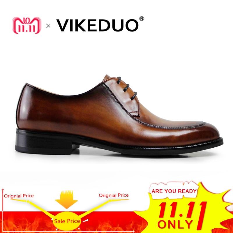 Vikeduo 2018 Vintage Luxury Male Handmade Genuine Leather Shoes Fashion Design Wedding Party Dress Shoe Original Men Derby Shoes цены
