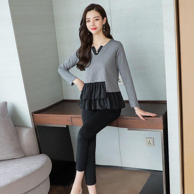L-5xl Grey Black Casual Two Piece Set Women Long Sleeve V-neck Tops+skinny Pants Women's Sets Elastic Waist Pants Plus Size 2019 26
