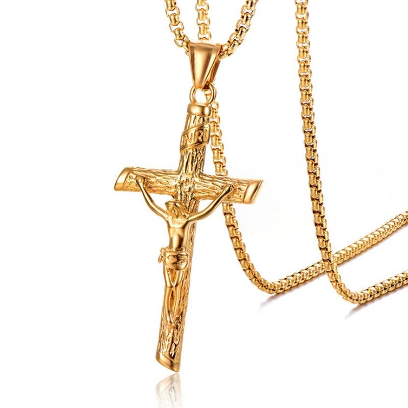 2018 New Christian Holy Relic Titanium Steel Men's Cross Pendant Stainless Steel Jesus Patron Saint Necklace Wholesale