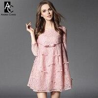2016 Spring Summer Designer Womens Dresses Pink Blue Gray Lace Dress Bow Applique A Line High