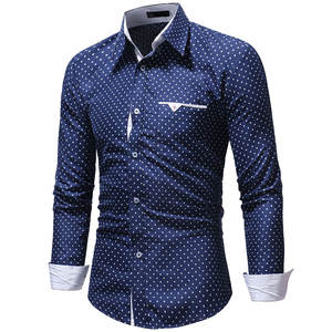 Men Shirt Button Turn-Down-Collar Slim-Fit Long-Sleeve Social Korean-Style Masculina
