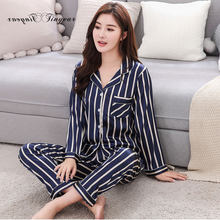 0890d215002c Tinyear New 2018 Korean Style Women Pajamas Turn-down Collar Sleepwear 2  Two Piece Set Shirt+long Pant Striped Casual Pajama set