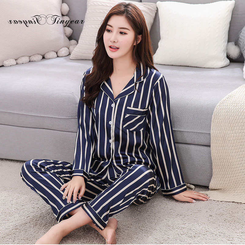 Tinyear New 2018 Korean Style Women   Pajamas   Turn-down Collar Sleepwear 2 Two Piece   Set   Shirt+long Pant Striped Casual   Pajama     set