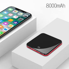 LCD Mirror Screen Mini Power Bank 8000mAh Ultra-Thin Portable External Battery Powerbank Fast Charge for iPhone Xs Max Xiaomi Mi
