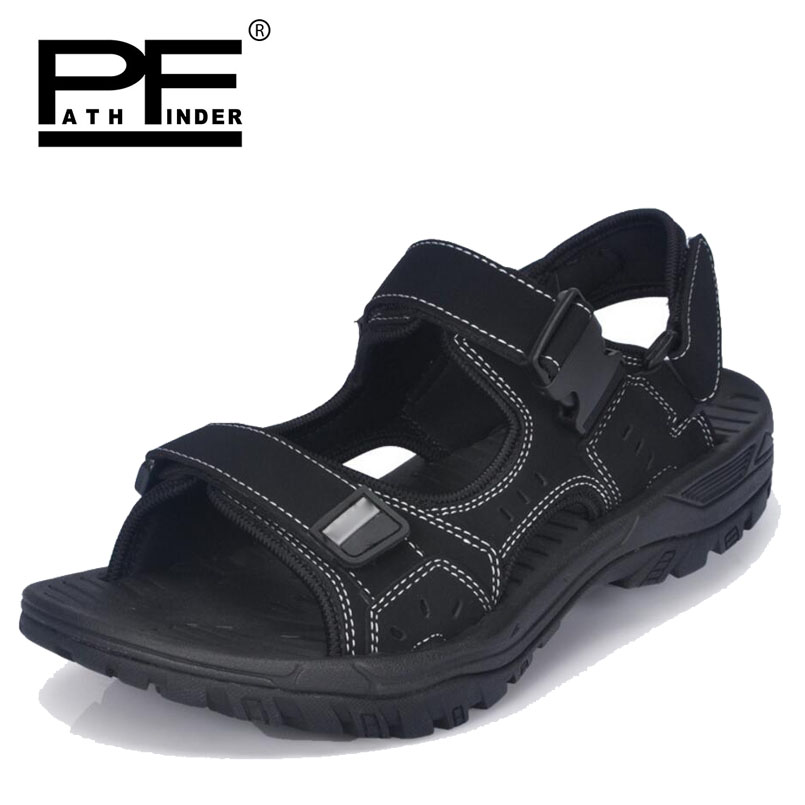 Pathfinder Men Leather sandals Shoes Summer mens Roman soft Breathable Slippers fashion Outdoor Beach Super Fiber Casual Shoes
