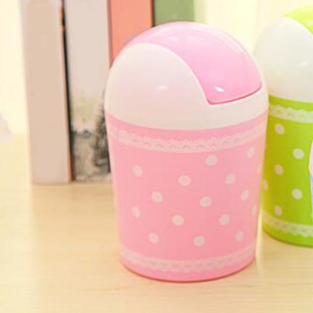 Pink ,Wholesale Trash Can, Icarekit ,Lovely Lace Polka Dot Swing top Desktop Storage Creative Fashion Mini Lidded Trash Can