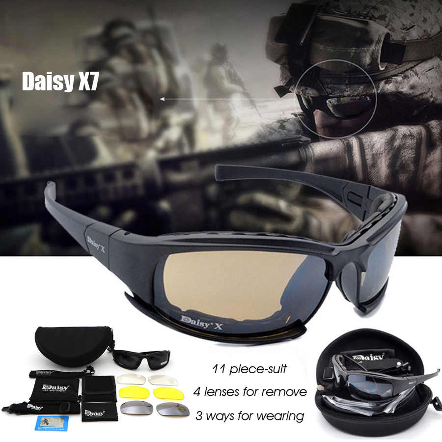 00e1e0dfa0a1 Daisy X7 Military Goggles Bullet-proof Army Polarized Sunglasses 4 Lens  Hunting Shooting Airsoft Eyewear