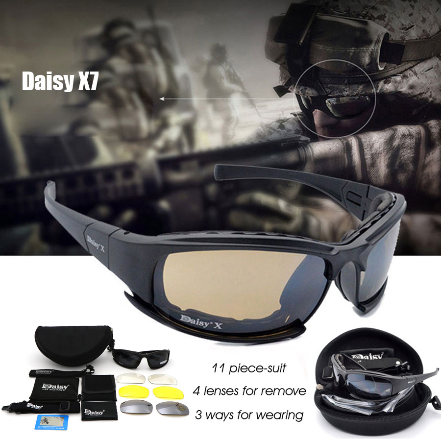 Daisy X7 Military Goggles Bullet-proof Army Polarized Sunglasses 4 Lens Hunting Shooting Airsoft Eyewear