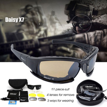 Daisy X7 Military Goggles Bullet-proof Army Polarized Sunglasses 4 Lens Hunting