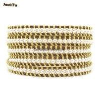 Jacktu nieuwe stijl parel met gouden draad lederen wrap armbanden