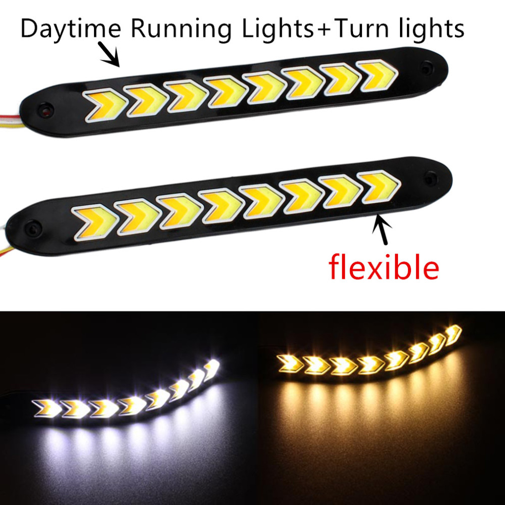 1 Pair flexible Waterproof White and Yellow Car Head Light COB LED Daytime Running Lights DRL Fog Lights with Turn Signal light# 1 pair car led lights 12 24v drl head lights 8w turn light strip