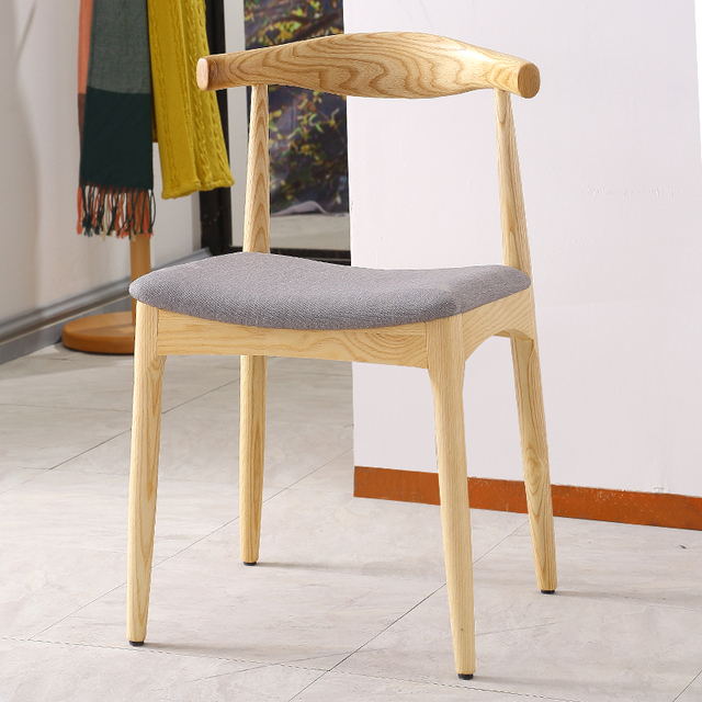 Hans Wegner Style Elbow Dining Chair With Fabric Upholstery Cushion Solid  Ash Wood Dining Room Furniture