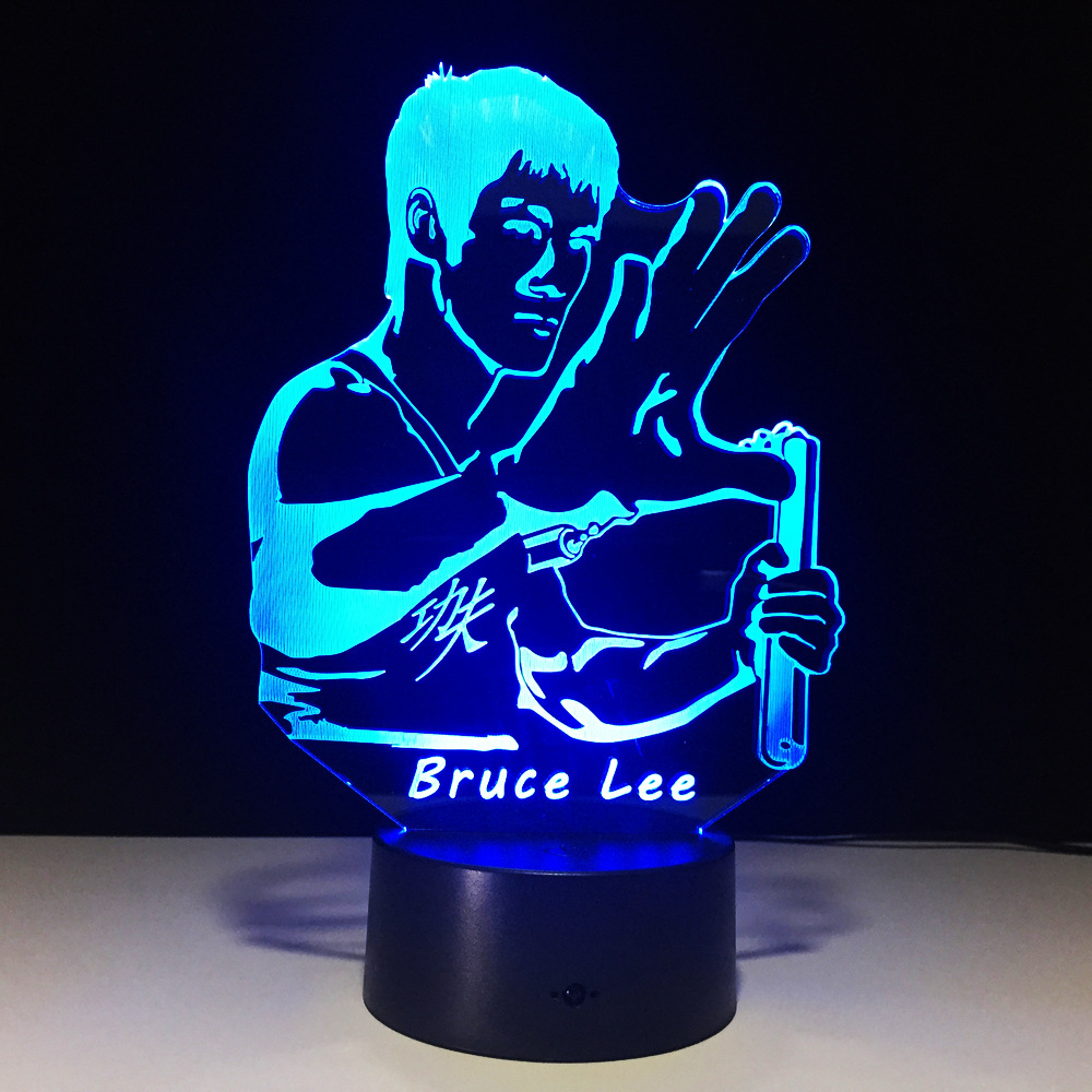 Bruce Lee Kungfu lamp 7 color changing visual illusion LED light deco fashion Novelty toy action figure kids birthday gift image