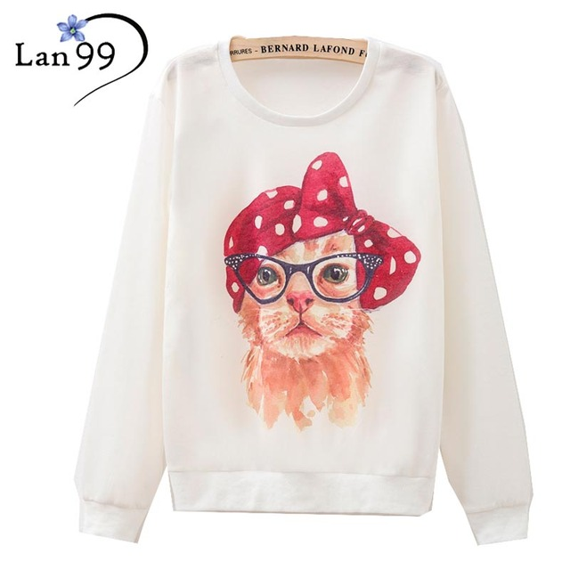 2016 Women's Hoodies Glasses Cute Cat With Red Headband Dot Bow Print Hoodies Harajuku O-Neck Pullovers Autumn Sweatshirt