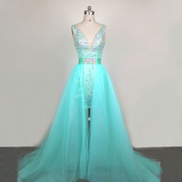 Custom Made Real Sample Sexy V Neckline Crystal Beaded Detachable Train Green Two Piece Prom Dresses