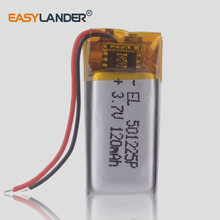 10 sztuk/partia 3.7V 501225 120mAh akumulator litowy zestaw słuchawkowy bluetooth baterii do mp3