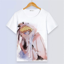 Sailor Moon Sexy Women White T shirt Kawaii Luna Cat Painting Femme Tee Shirt Cartoon Short Sleeve Summer Tops Harajuku Clothes