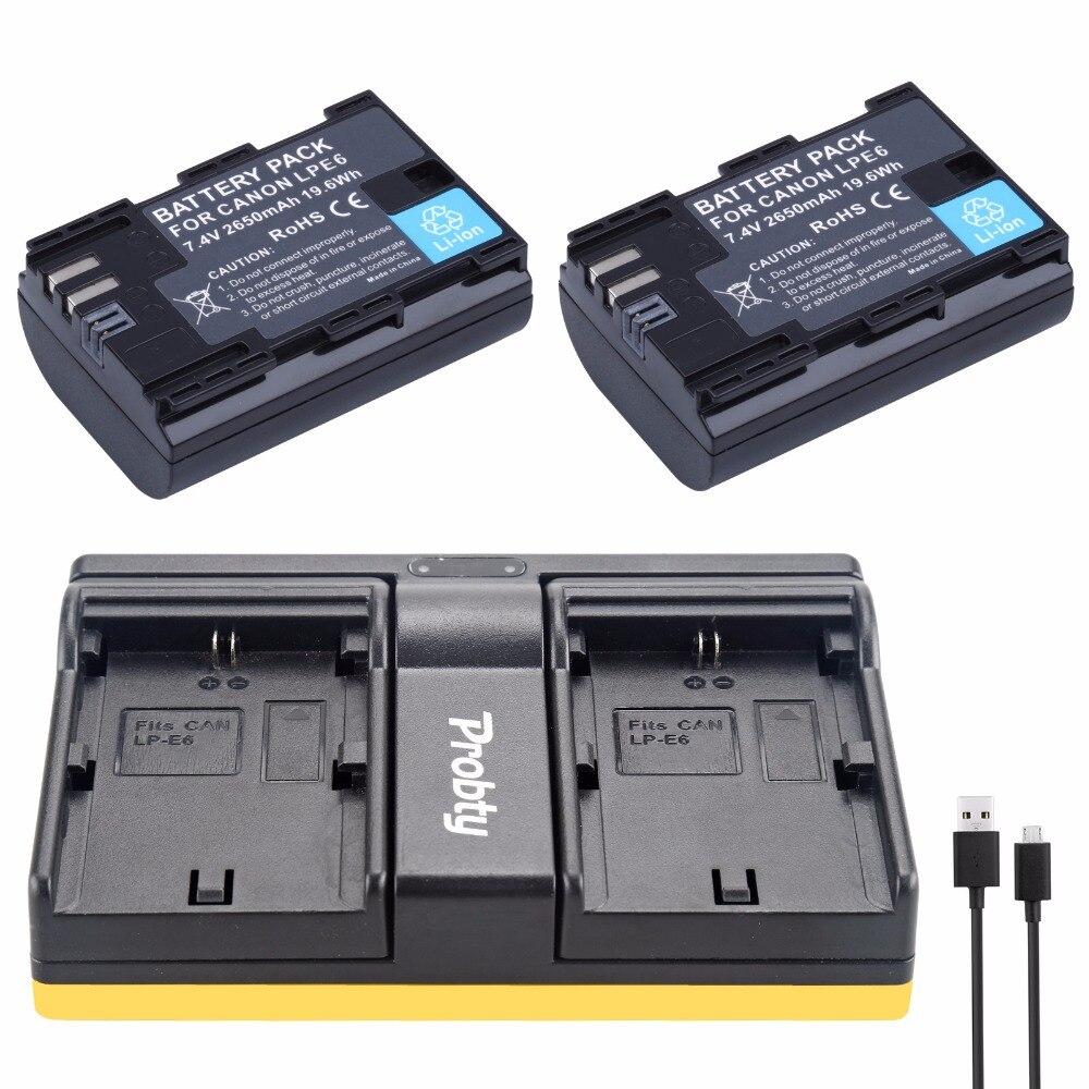 2pcs 2650mah Lp E6 Lpe6 Lp E6 Camera Batteries Battery