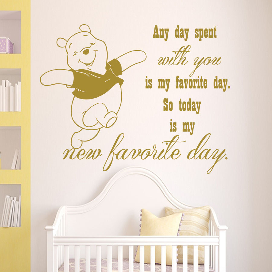 Winnie The Pooh Wall Decal Quote Any Day Spent With You Is My Favorite Day  Vinyl Sticker Nursery Childrenu0027s Room Murals M 72 In Wall Stickers From  Home ...