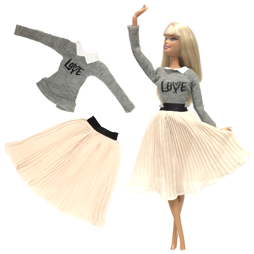 NK One Set Doll Dress Top Fashion Outfits Skirt Handmade Clothes For Barbie Doll Accessories Gift Baby Toys 267A 8X