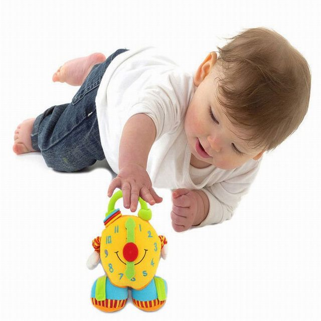 2016 High Quality Alarm Clock Infant Baby Toys Educational Early Learning Play Plush Newborn Baby Rattles 0-12 months-BYC124 P49