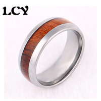 2016 Koa Wood Inlay Tungsten Ring Simple And Elegant Stainless Steel Ring With Wood Design Promise