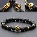 8 мм буда / лев / череп мужская черный лавы камень бусины эластичный будда браслет Northskull Armbanden Voor Vrouwen браслеты мужские