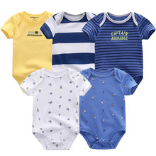 2018 spring newest bodysuit newborn boy girl clothes 0 3 6 9 12 months cotton short sleeve Infant costume Baby Boy Clothing sets(China)