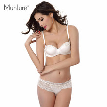 Munllure High-end white bridal gown bra, 1/2 half a cup of antiskid article underwear embroidery Comfortable gather bra set(China)