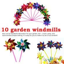 10pcs Garden Lawn Party Decor Toy Gift Boys Girls Plastic Windmill Pinwheel Wind Spinner Kids Childrens Toys