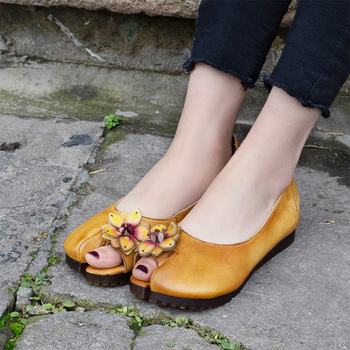 2019 Women's  genuine Leather Flats Spring/Summer Flowers Casual Handmade Slip-on Comfortable Round-Toe Shallow Shoes For Woman
