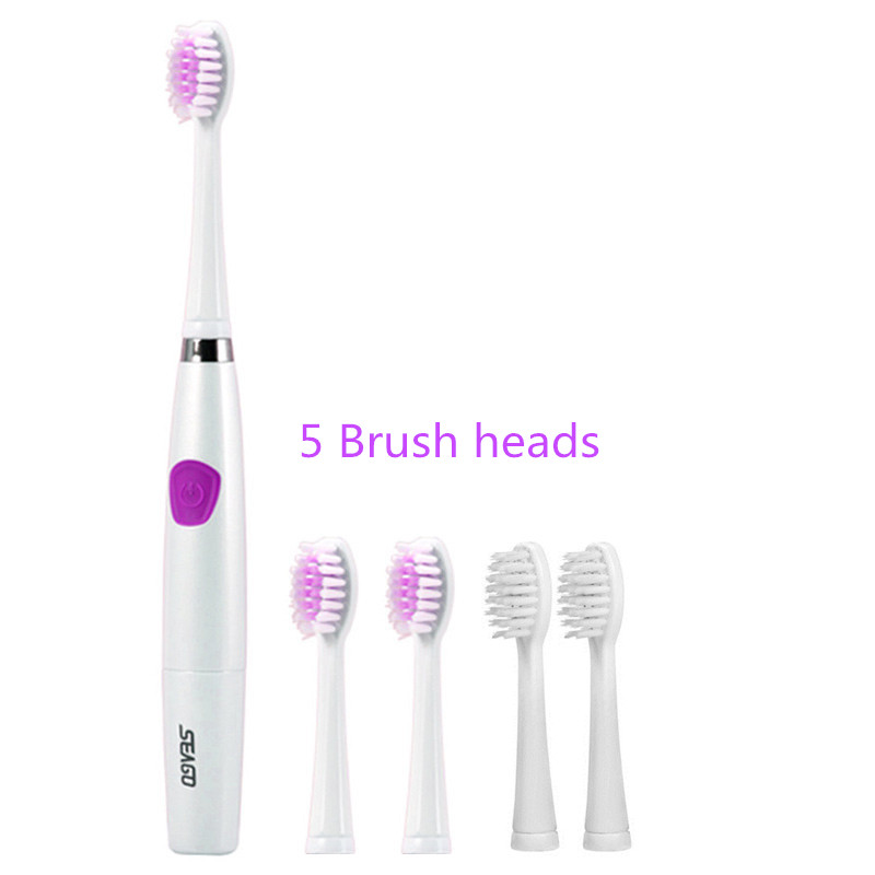 Seago SG-612 Electric Sonic toothbrush Intelligent 2 mins timer 5 brush heads Battery Power ABS/TBE Tooth teeth brush Oral Care