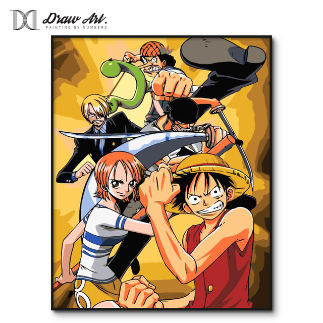 Trafalgar Law ONE PIECE Cartoon Painting by Number Kits DIY Frame Painting By Numbers Oil Paint Wall Art Pictures Decor For Home