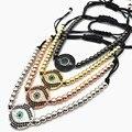 1pcs Anil  Brand men bracelet Pave Setting Black CZ Evil Eye Bracelet  Braiding Men Macrame Bracelet  CZ jewelry