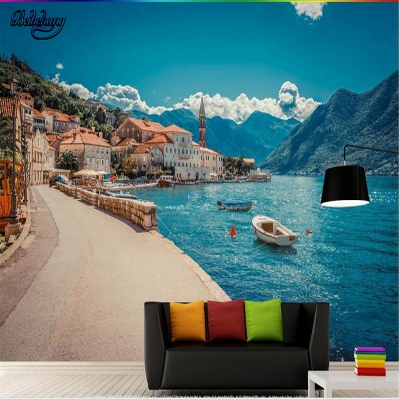 H 140Cm 200X Custom 3D Wallpaper Murals Harbor Small Town