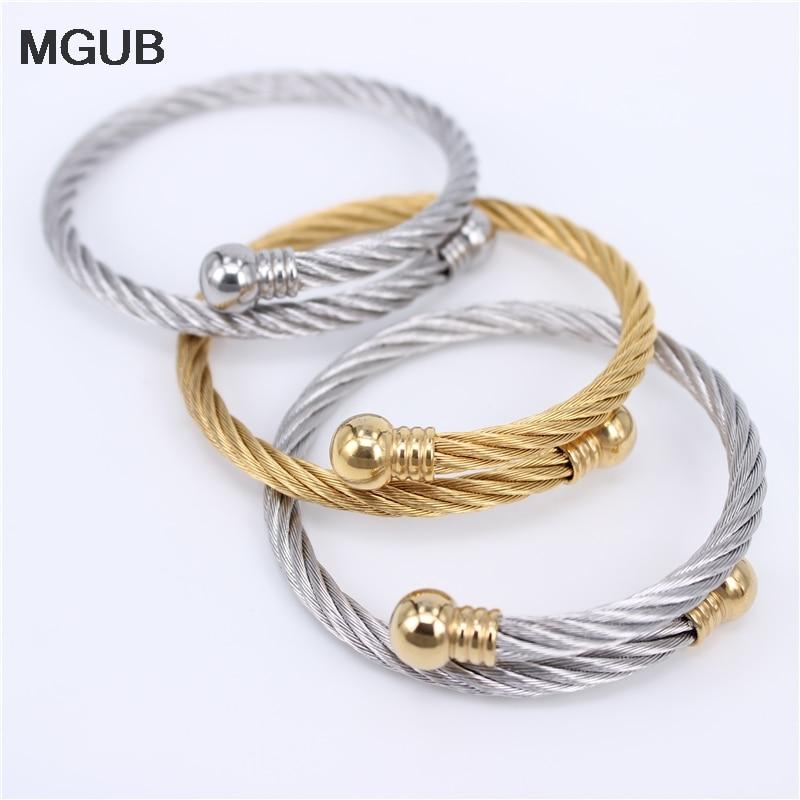 Three Styles Adjustable Open Cuff Men Women Bracelets Trendy Stainless Steel Simple Bangles LH752