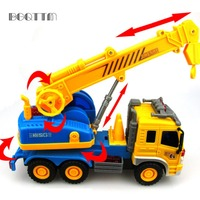 Hot Mini Diecasts Car Trucks Toy Scale Models Inertial Sliding Car Crane Engineering Vehicle Toys For