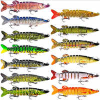 1 pçs 12.5cm 21g 9-seements isca isca artificial duro pique baixo isca muskie wobbler iscas de pesca swimbait crankbait 13 cores