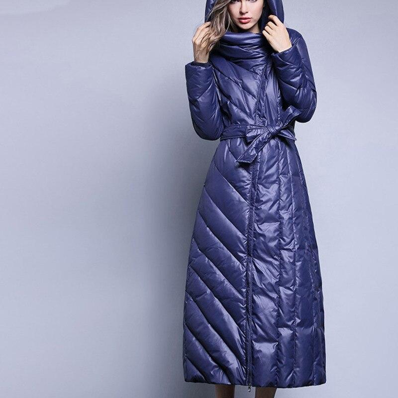 Super Black Mince Femmes Duvet Pardessus Européenne Plus Vintage 7xl J084 Canard blue Genou Long Vêtements Mode De Veste Taille Blanc La Épais Femelle 7q18Ha76