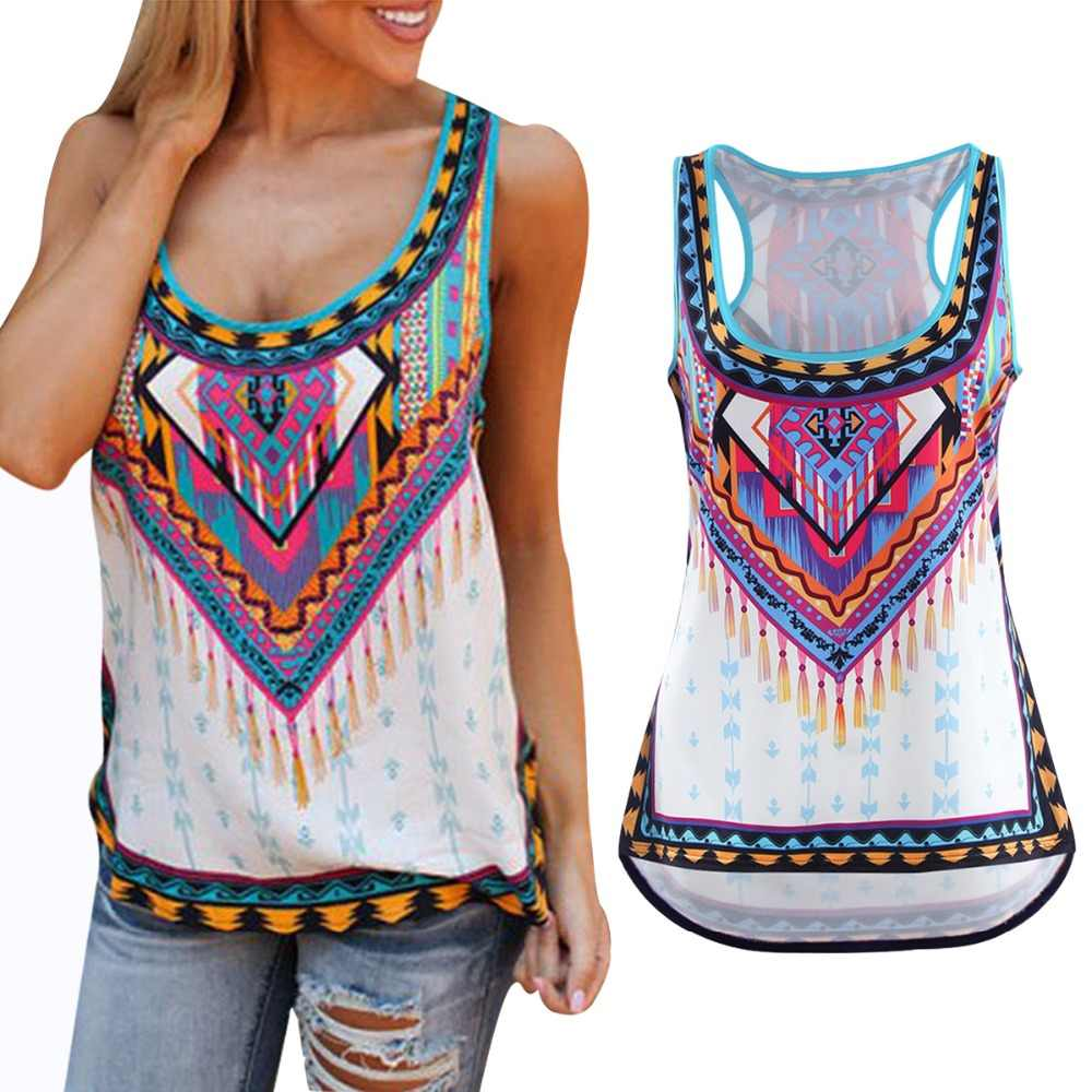 28c42f83ca0 Women Tops Plus Size 5XL 2018 Summer Sexy Loose sleeveless Blouses Tee Tops  Boho Floral Beach
