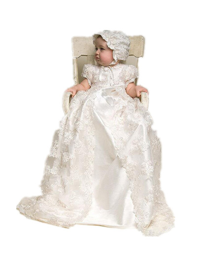 BABY WOW White Super Long Lace Baby Girl Christening Gowns Dress Hat 1 Year Birthday Newborn - 2 Years 80141
