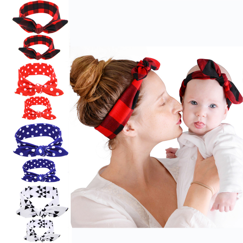 New Colorful Boho Newborn Toddler Headband Ribbon Elastic Cloth 2Pcs/Set Mother Baby Headdress Kids Girl Bow Knot Hair Bands