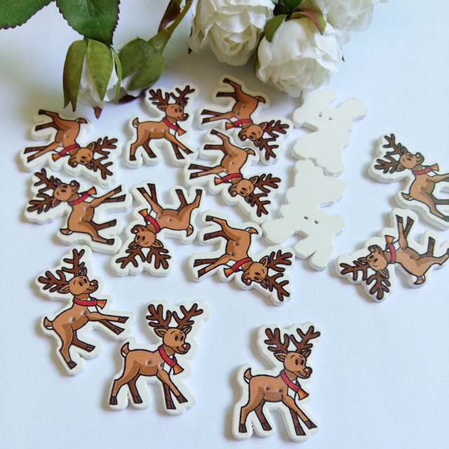 diy crafts 20pcs mixed cute christmas moose 2 holes wooden decorative buttons sewing accessories scrapbooking - Christmas Moose